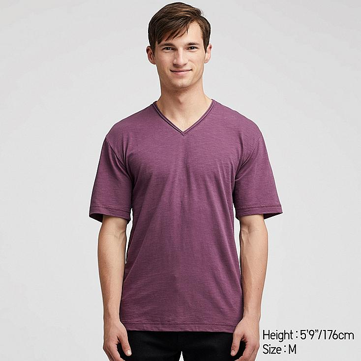 MEN SLUB V-NECK SHORT-SLEEVE T-SHIRT, PURPLE, large