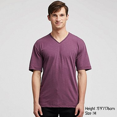 MEN SLUB V-NECK SHORT-SLEEVE T-SHIRT, PURPLE, medium