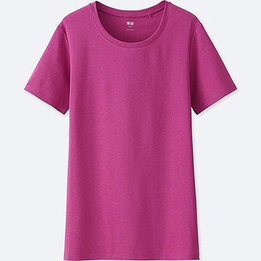 Womens Supima® Cotton Crew Neck T-Shirt, PURPLE, medium