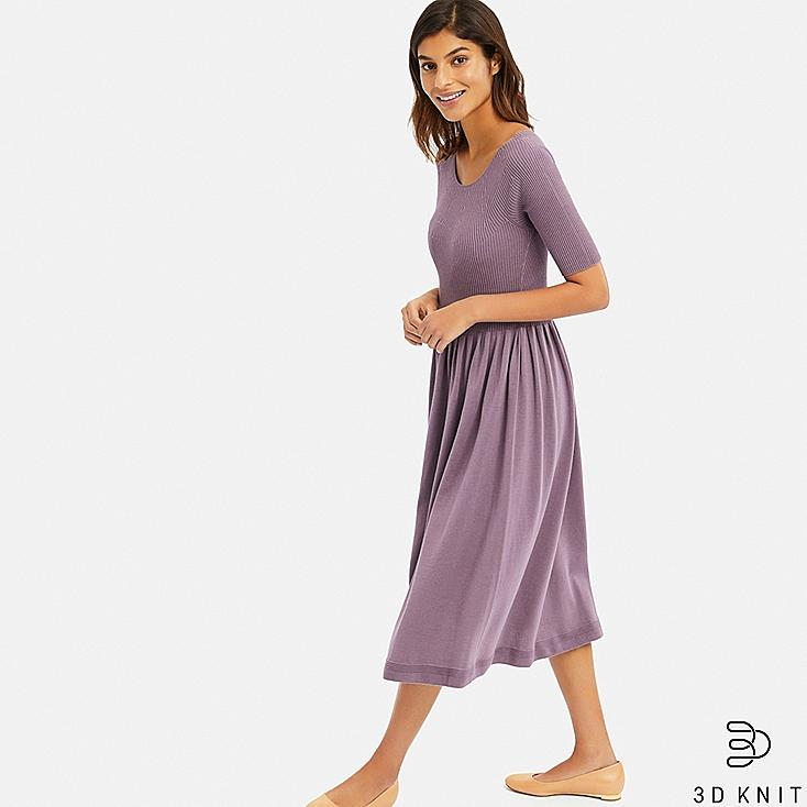 WOMEN 3D COTTON RIBBED HALF SLEEVE DRESS, PURPLE, large