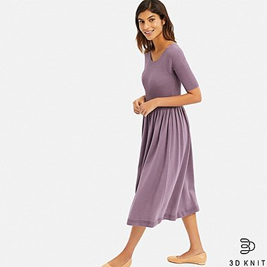 WOMEN 3D COTTON RIBBED HALF SLEEVE DRESS, PURPLE, medium