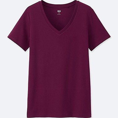 WOMEN SUPIMA® COTTON V-NECK SHORT-SLEEVE T-SHIRT, PURPLE, medium