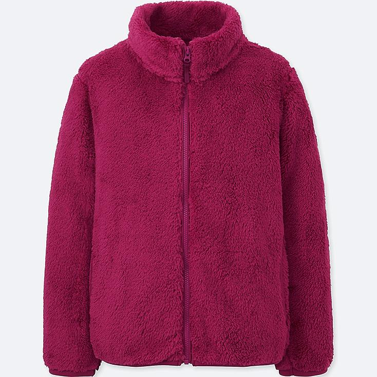 GIRLS FLUFFY YARN FLEECE LONG-SLEEVE JACKET, PURPLE, large