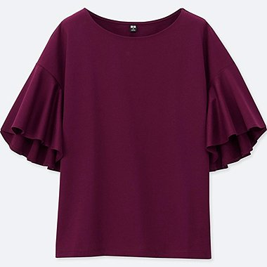 WOMEN MERCERIZED COTTON FLARE SHORT SLEEVE T-SHIRT