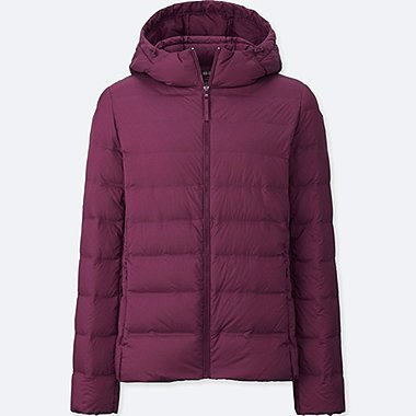 WOMEN ULTRA LIGHT DOWN SEAMLESS PARKA, PURPLE, medium