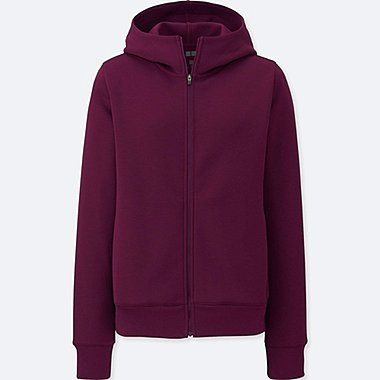 WOMEN DRY STRETCH LONG-SLEEVE SWEAT HOODIE, PURPLE, medium