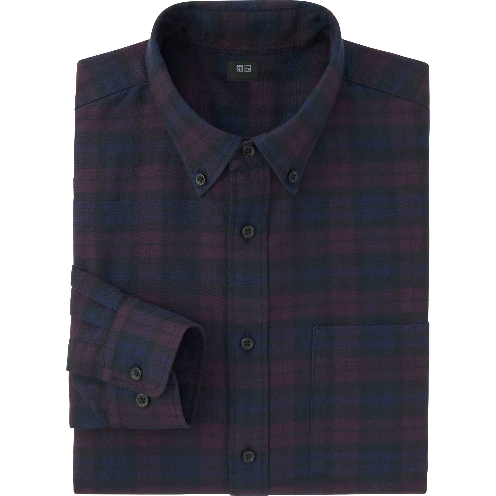 Men Flannel Blackwatch Check Long Sleeve Shirt Uniqlo Us Flanel Navy Images