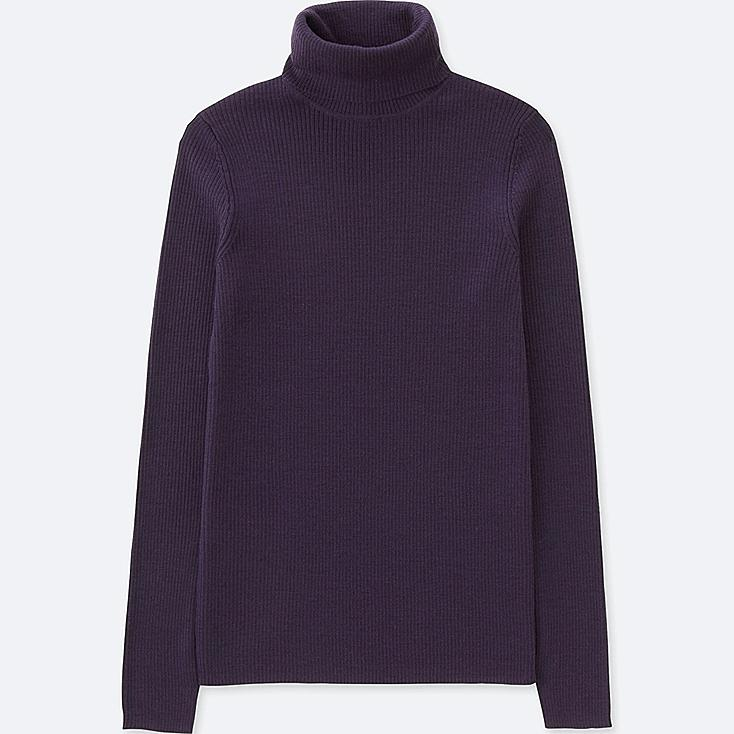 WOMEN EXTRA FINE MERINO RIBBED TURTLENECK SWEATER, PURPLE, large
