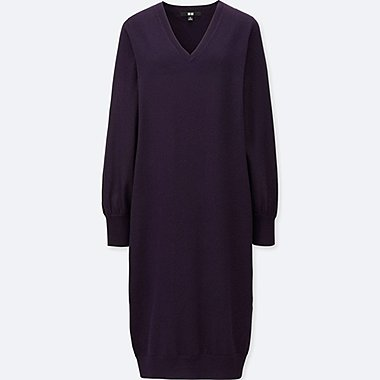 WOMEN MERINO BLEND V NECK DRESS