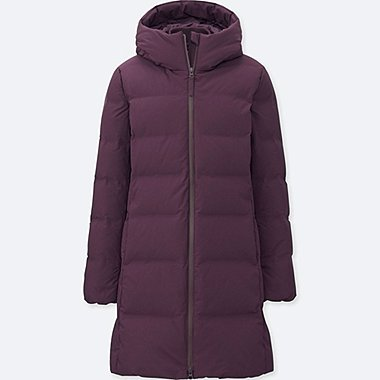 WOMEN SEAMLESS DOWN COAT, PURPLE, medium
