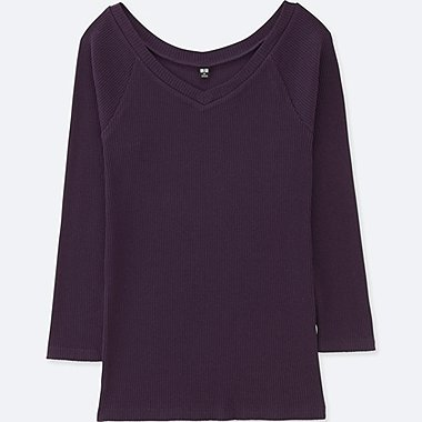 WOMEN RIBBED BALLET NECK 3/4 SLEEVE T-SHIRT