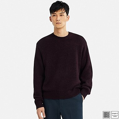 MEN U MELANGE CREWNECK LONG-SLEEVE SWEATER, PURPLE, medium