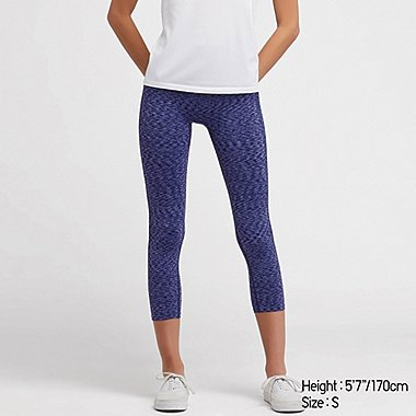 WOMEN AIRism SEAMLESS CROPPED LEGGINGS, PURPLE, medium