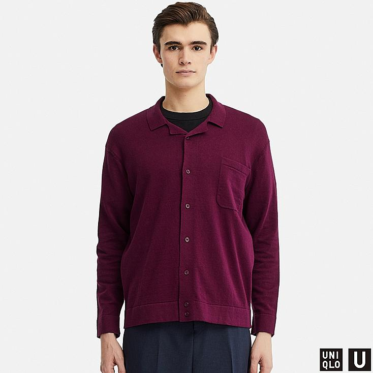MEN U COTTON CASHMERE LONG-SLEEVE KNITTED SHIRT, PURPLE, large