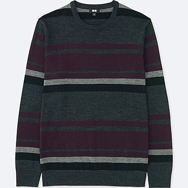 MEN EXTRA FINE MERINO STRIPED CREW NECK JUMPER