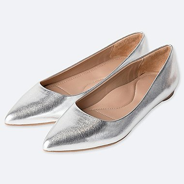 POINTED METALLIC FLAT SHOES (ONLINE EXCLUSIVE)