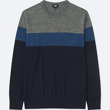 MEN EXTRA FINE MERINO CREW NECK BLOCK STRIPED JUMPER