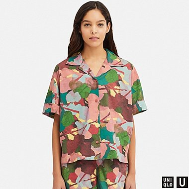 WOMEN UNIQLO U OPEN COLLAR PRINTED HALF SLEEVED SHIRT