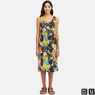WOMEN UNIQLO U DRAWSTRING PRINTED SLEEVELESS DRESS