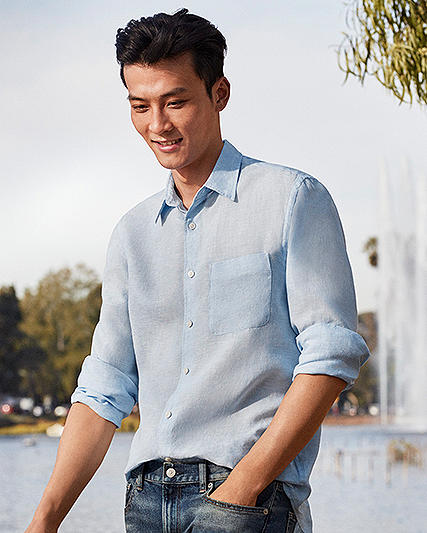 Premium Linen Shirts. A breezy spring staple, crafted from luxe French linen.