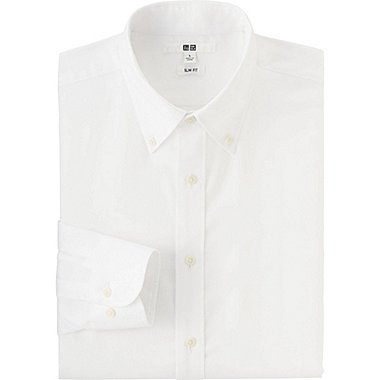 MEN EASY CARE SLIM-FIT OXFORD LONG SLEEVE SHIRT, WHITE, medium