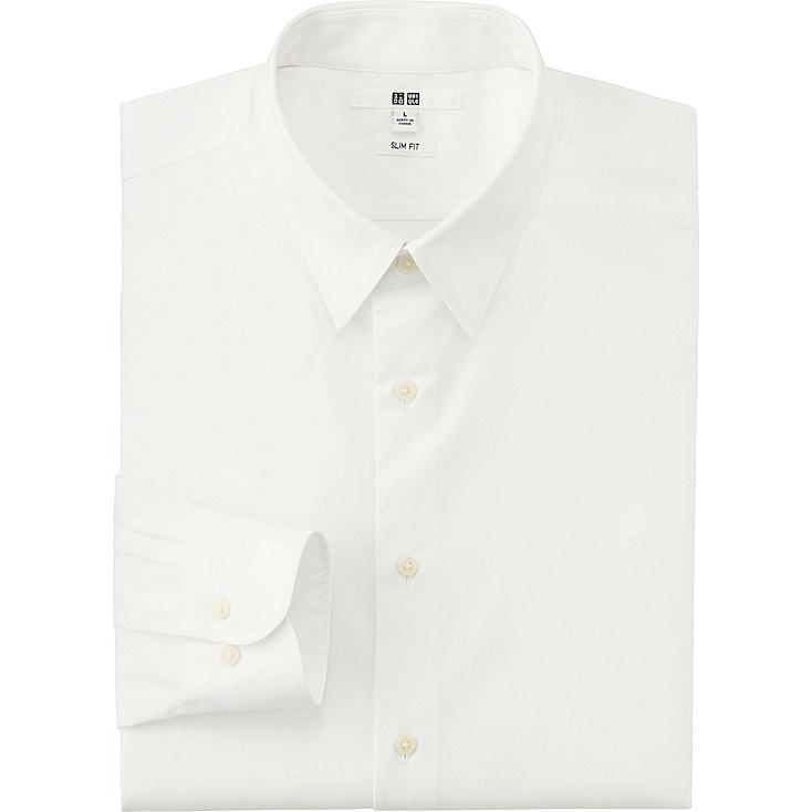 Men's Easy Care Broadcloth Slim-Fit Dress Shirt, WHITE, large