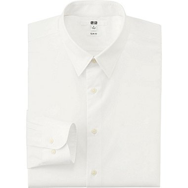 Mens Easy Care Broadcloth Slim-Fit Dress Shirt, WHITE, medium