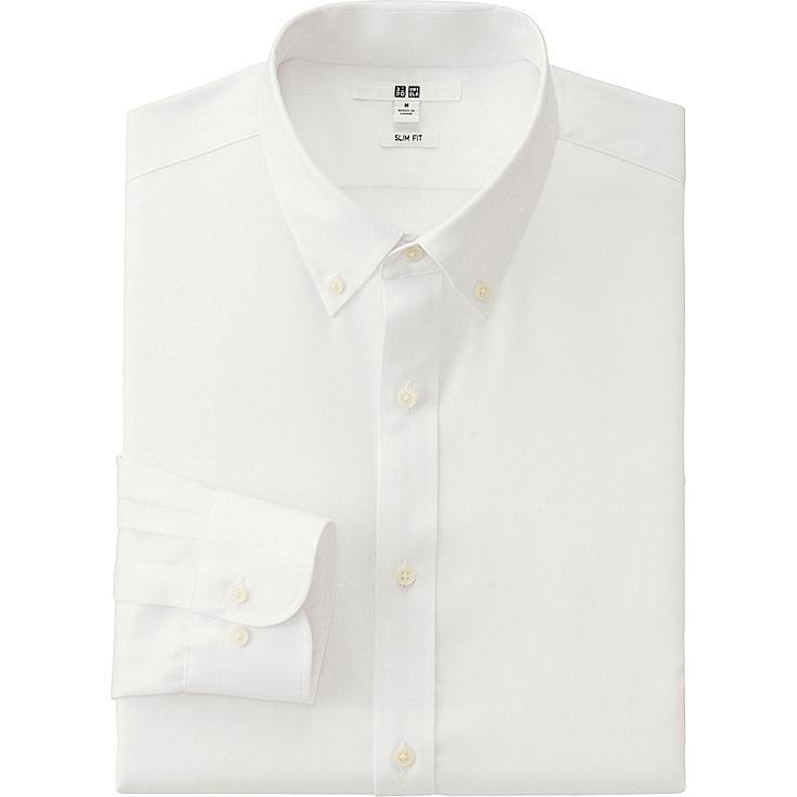 MEN EASY CARE SLIM FIT OXFORD LONG SLEEVE SHIRT, WHITE, large