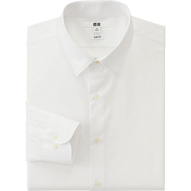 MEN EASY CARE SLIM FIT BROADCLOTH LONG SLEEVE SHIRT, WHITE, large