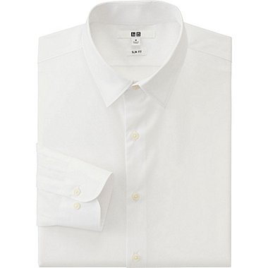 MEN EASY CARE SLIM FIT BROADCLOTH LONG SLEEVE SHIRT, WHITE, medium
