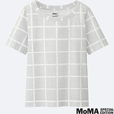WOMEN SPRZ NY Super Geometric GRAPHIC T-SHIRT (FRANCOIS MORELLET), WHITE, medium