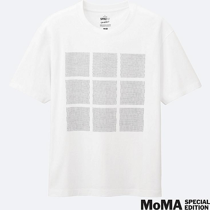 MEN SPRZ NY Super Geometric GRAPHIC T-SHIRT (FRANCIS MORELLET), WHITE, large