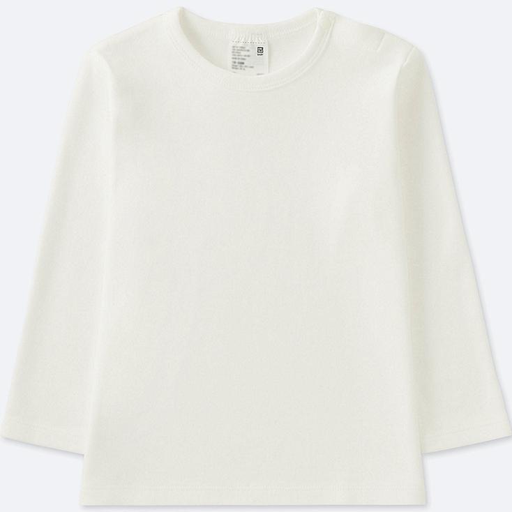 TODDLER CREW NECK LONG-SLEEVE T-SHIRT, WHITE, large