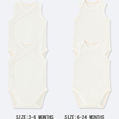 BABY MESH INNER SLEEVELESS BODYSUIT (SET OF 2), WHITE, medium