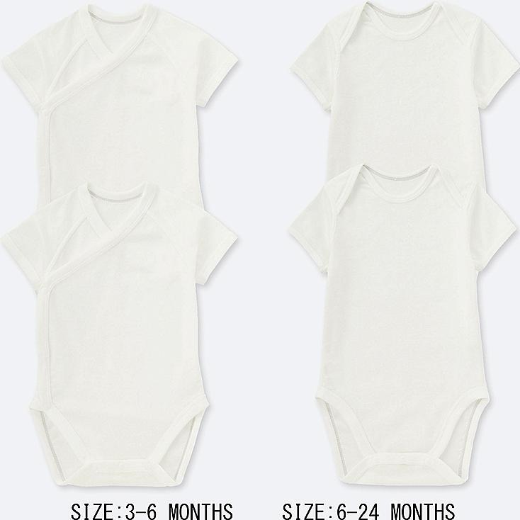NEWBORN CREWNECK SHORT-SLEEVE BODYSUIT (SET OF 2), WHITE, large