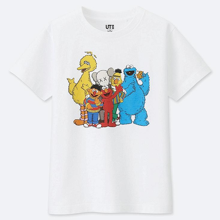 KIDS KAWS X SESAME STREET GRAPHIC T-SHIRT, WHITE, large