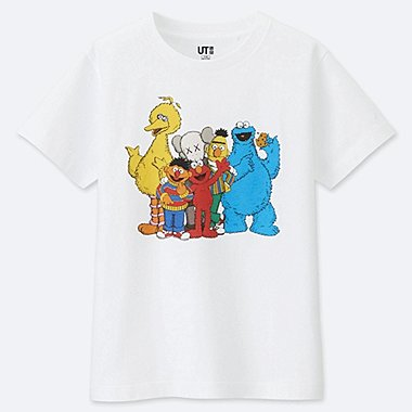 KIDS KAWS X SESAME STREET GRAPHIC T-SHIRT, WHITE, medium