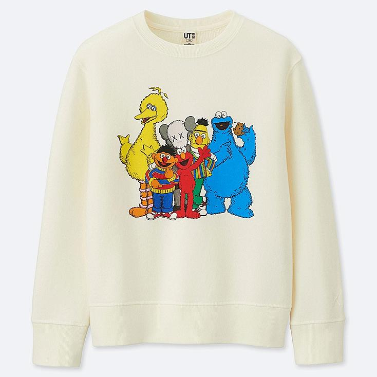 KIDS KAWS X SESAME STREET SWEATSHIRT, OFF WHITE, large