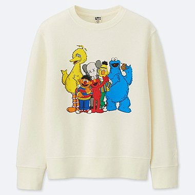 KIDS KAWS X SESAME STREET SWEATSHIRT, OFF WHITE, medium