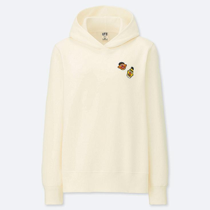 WOMEN KAWS X SESAME STREET HOODED SWEATSHIRT, OFF WHITE, large