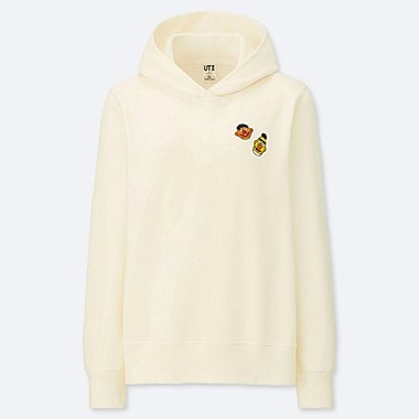 WOMEN KAWS X SESAME STREET HOODED SWEATSHIRT, OFF WHITE, medium