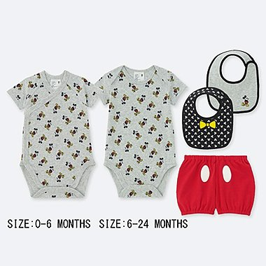 NEWBORN DISNEY COLLECTION SHORT-SLEEVE GIFT SET (SET OF 4), LIGHT GRAY, medium