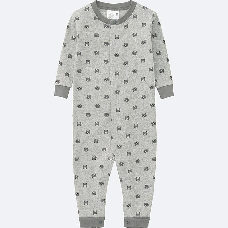 BABY LONG SLEEVE ONE PIECE OUTFIT, GRAY, large