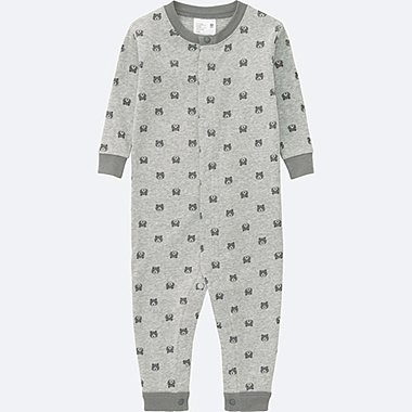 BABY LONG SLEEVE ONE PIECE OUTFIT, GRAY, medium