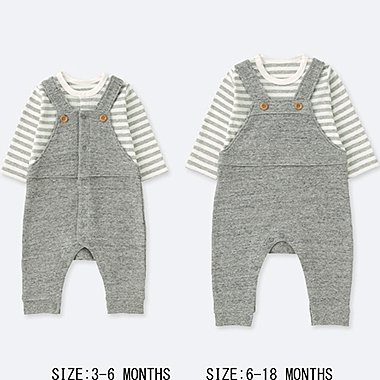 NEWBORN COORDINATED LONG-SLEEVE ONE-PIECE OUTFIT, GRAY, medium