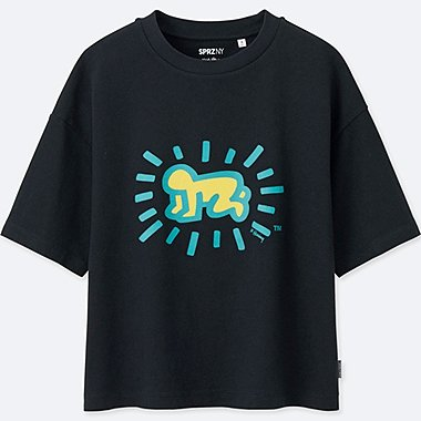 WOMEN SPRZ SHORT SLEEVE GRAPHIC T-SHIRT (KEITH HARING), BLACK, medium
