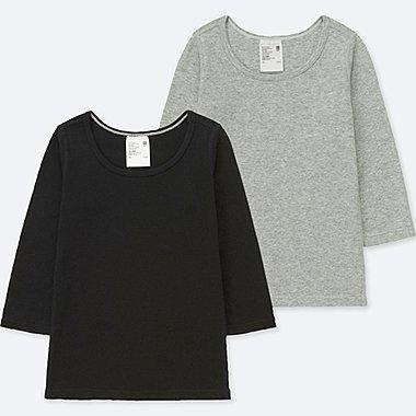TODDLER COTTON INNERWEAR LONG-SLEEVE T-SHIRT (SET OF 2), BLACK, medium