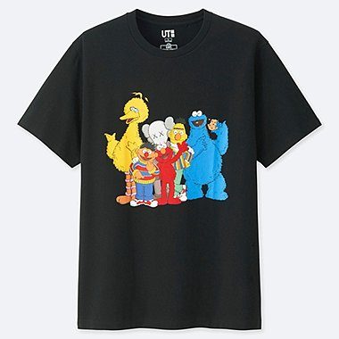 KAWS X SESAME STREET GRAPHIC T-SHIRT, BLACK, medium