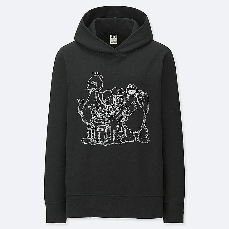 WOMEN KAWS X SESAME STREET HOODED SWEATSHIRT, BLACK, large