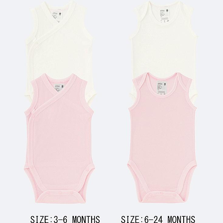 BABY AIRISM MESH SLEEVELESS BODYSUIT 2-PACK, PINK, large